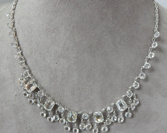 1930s Clear Czech Crystal & Silver Link Necklace