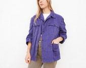 Chore Jacket Blue Cotton 70s Sz. M-L