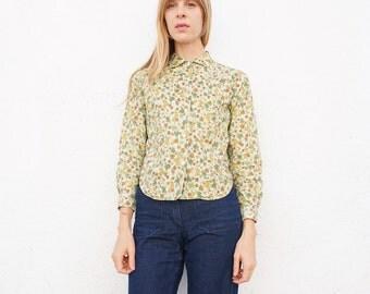Shirt 60s Cotton Button Down Printed sz. XS