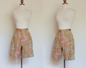 vintage 1950s novelty print shorts / 50s multicolor patterned high waisted shorts / XS - S
