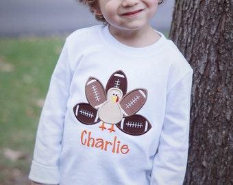 Football Turkey Personalized Thanksgiving Shirt - Child - Monogram Toddler Tee - Short or Long Sleeves - Baby Boy or Girl - Fall - Child