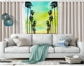 Palm Tree, Beach Decor, Coastal Wall Art, large Canvas Art, Coastal Decor, Cottage Decor, Watercolor,  Tropical Art, Canvas Print, 36x36 art