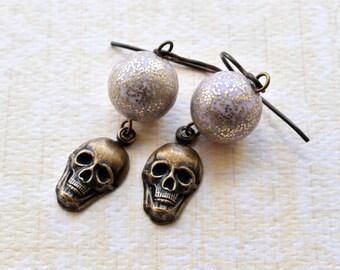 Skull Earrings, Brass Skull, Purple Glitter, Skull Jewellery, Earrings Hypo, Hypoallergenic, Niobium Jewellery, UK Earrings