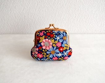 Retro floral tiny coin purse - navy blue. Handmade in Japan. Ready to ship.