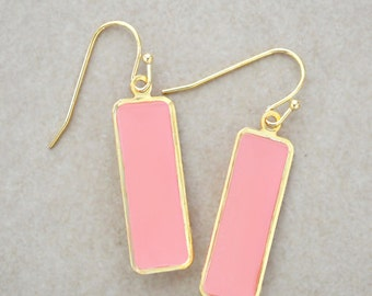 Coral Statement Earrings - Light Gold Dangle Earrings