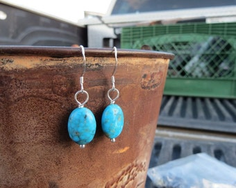 Kingman blue turquoise earrings . BLUEBIRD . blue earrings . December birthstone earrings . stone earrings . under 30 dollars . short . love