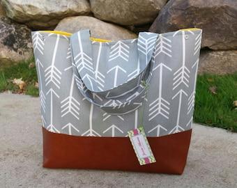 Arrow diaper bag, large tote bag, leather tote, Purse, overnight bag, gray diaper bag, large diaper bag, arrow purse