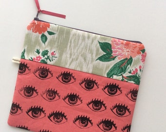 Pink linen Eye See You pouch