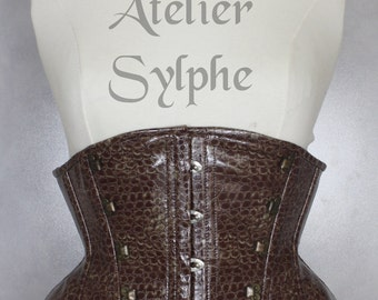 Very steampunk underbust corset belt in brown/red PVC vinyl  and free skirt