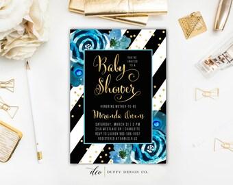 Baby Shower Invitation, Baby Shower Invitation Boy, Black Blue Gold Baby Shower Invite, Blue Baby Shower Invite, Printable 5x7