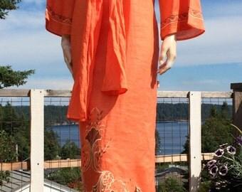 Vintage 70s ORANGE Embroidered Ethnic Kaftan Dress with Belt