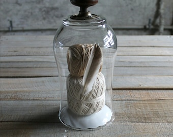 Glass Cloche with Brown Porcelain Door Knob - Letter E