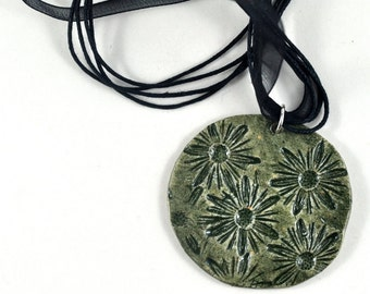 Pendant Necklace Boho Jewelry Ceramic Daisy Spring Flowers Forest Green Handmade Pottery Round Statement Hippie Handmade Gift Pouch