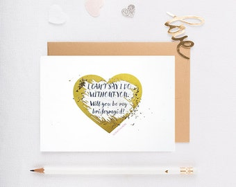 Will You Be My Bridesmaid Scratch Off Card, Maid of Honor Card, Invitation, Wedding, Gold Heart, Scratch Off, Bridesmaid Proposal - GBM-02
