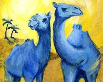 TBC1 (Two Blue Camels), A4 Fine Art Fun Animal Painting Print