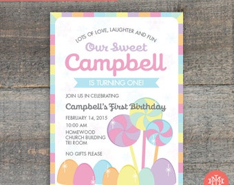 Candyland Birthday Party Invitation Printable File, Lingerie Shower, First Birthday Party, Wedding Shower, Bridal Shower, Print Yourself