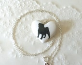 Gift for Dog Lover-Pug Necklace, Pug Sterling Silver Porcelain Pendant, Gift for her