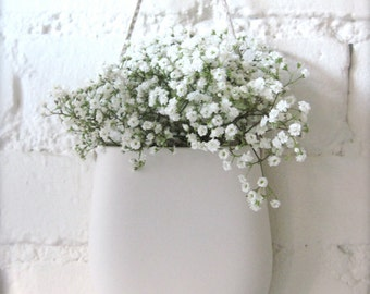 Made to order, Simple White Porcelain Hanging Wall Pocket, Wall Hanging Vase, Wall Decor