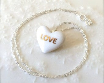 Pure White Heart With 22k Gold Love, Sterling Silver Necklace, Porcelain Necklace, Modern Jewelry, Porcelain Jewelry, Gift for her