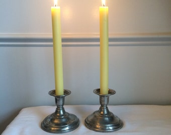 Vintage Rustic Farmhouse Chic Pewter Candleholders