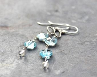 Blue Topaz Earrings Coin Gemstone Dangle Earrings Sterling Silver December Birthstone