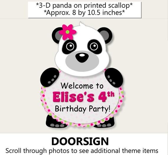 girl panda birthday party door sign or panda baby shower decorations