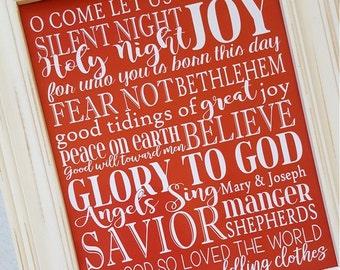 NATIVITY Art, Christmas Subway Art, Religious Print, Jesus Christ, Savior, Christmas in July - Printable Instant Download