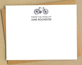 Personalized Bicycle Notecard Set / Outdoorsman Gift Set / Stationery Set for Cyclist or Sportsman