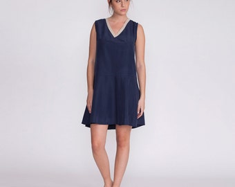 Women dress, Short blue dress, fitted dress, day dress, summer dress, knee length dress, sleeveless short dress,