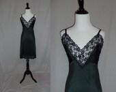 70s Black Dress Slip - Nylon Lace Trim - Sliperfection Full Slip - Vintage 1970s - 36