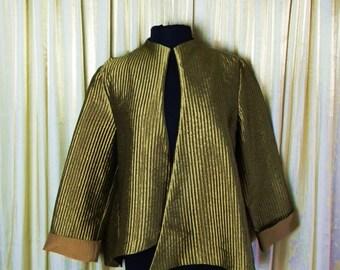 Vintage Asymmetrical gold pleated jacket/Evening jacket/Asymmetric Flared