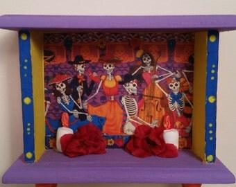 Bright Colorful and Festive Day of the Dead  / Dia de los Muertos  Mini Alter Shrine Nicho
