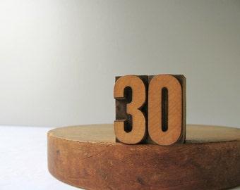 Vintage Letterpress Number 30 Wood Type Block Thirty Printer Block Number 3 0 Stamp Wooden Three Zero Birthday Date Anniversary Home Decor
