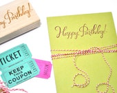 Happy Birthday Calligraphy Rubber Stamp
