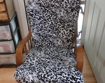 Glider Rocker Slip Cover FOR YOUR Glider Cushions -    zebra  print  Slipcover or Any Color you choose.