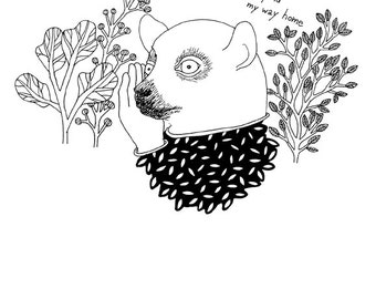 Lost Animal Digital Fine Art Print Poster Illustration Drawing 11.69 x 16.54 ''