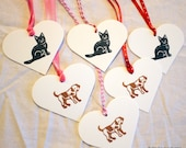 Valentine Puppy & Kitten Gift Tags - Set of Six hand stamped from hand carved stamps