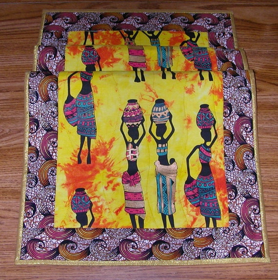 Quilted AFRICAN WATER WOMAN Table Runner / Wall Hanging  in Yellow, Gold, Turquoise, Red and Brown.  A Quiltsy Handmade item on Etsy!