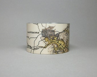 Cuff Bracelet Baltimore Maryland Nautical Map Unique Gift for Men or Women