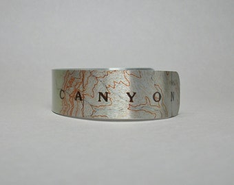 Grand Canyon National Park Arizona Map Cuff Bracelet Unique Gift for Men or Women
