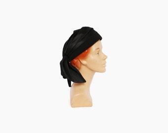 Vintage 50s Designer HAT / 1950s Pleated Black Silk & Wool Sally Victor Turban Style Hat