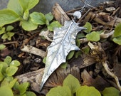 Datura stramonium - Moonflower (Jimsonweed, Thorn-Apple) Leaf Statement Pendant in Fine Silver, Rainbow Moonstone  by Quintessential Arts