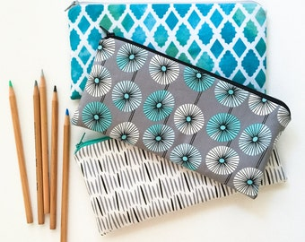 Womens Gift, Zipper Wallet Pouch, Large Coin Purse, Pencil Pouch, Pencil Case, Zipper Bag Black, White, Aqua, College Teens Stocking Stuffer