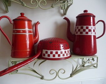 FRENCH ENAMELWARE RED colander/drainer and 2 enamel coffee pots collection 3 items