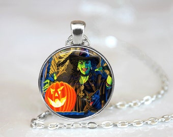 Halloween Jewelry Halloween  Necklace Glass Tile Necklace Witch Jewelry  Black Necklace Glass Tile Jewelry  Holiday Jewelry Black Jewelry