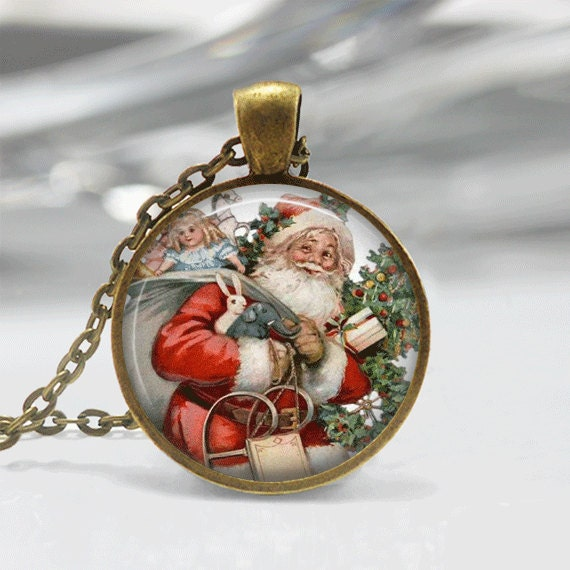 Christmas necklace jewelry santa glass tile