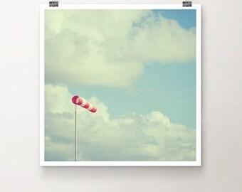 WindBreaker - Fine Art Print Seaside Beach Sky Clouds red white Wind Photo