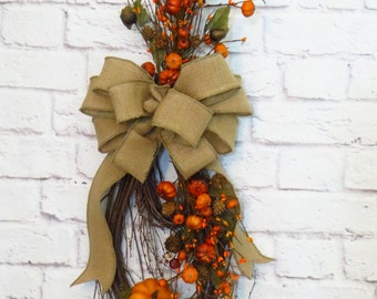 Rustic Fall Swag, Teardrop Swag, Rustic Fall Decor, Pumpkin Swag, Thanksgiving Decor,  Autumn Wreath