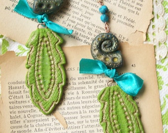 Long large statement earrings boho chic polymer clay earrings teal turquoise olive green dangle earrings