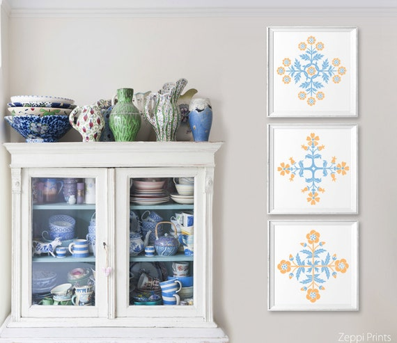 Peach French Blue Flower Wall Art Set Rustic Cottage Wall Art French Country Wall